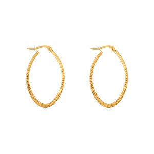 Earrings hoops oval statement small pattern gold