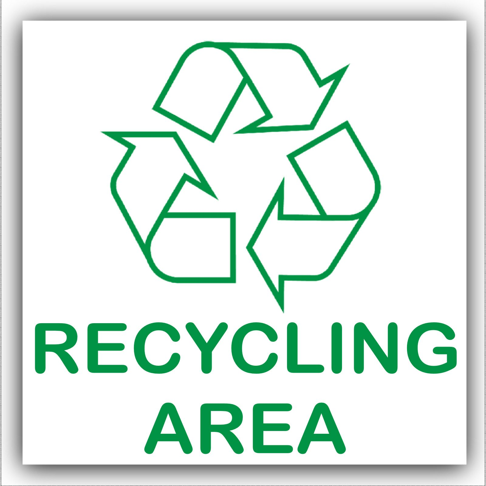 1 X Recycling Area Adhesive Sticker Recycle Logo Sign