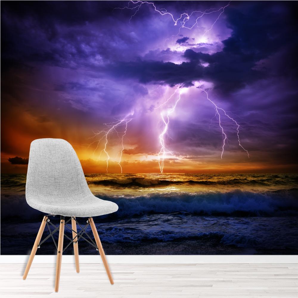 Purple Stormy Sky Wall Mural Ocean Photo Wallpaper Bedroom Home Decor Ebay
