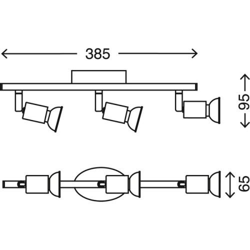 SIMPLE - BARRA 3L X 3W GU10 LED 250LM NICKEL SATINATO
