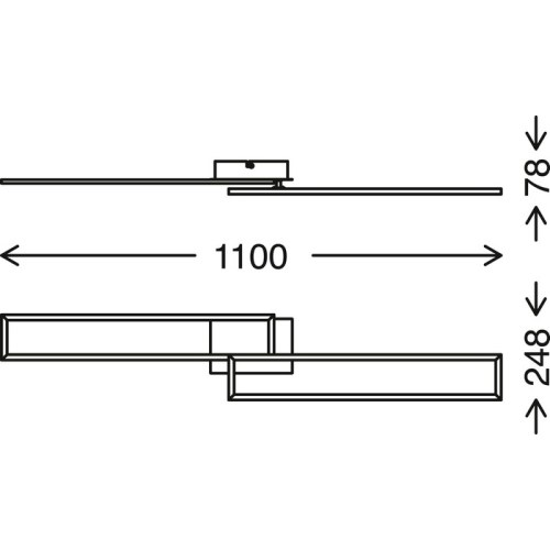 FRAMES - APPLIQUE/PLAFONIERA 110 X 25CM - 40WATT 4400LUMEN - CCT 2700K 5000K - DIMMERABILE -