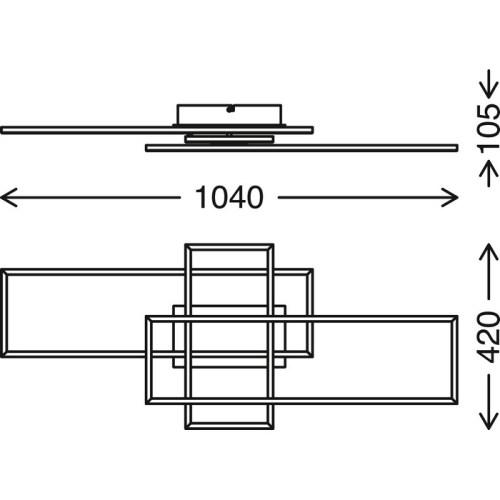 FRAMES - APPLIQUE/PLAFONIERA 104 X 42CM - 40WATT 4400LUMEN - CCT 2700K 5000K - DIMMERABILE