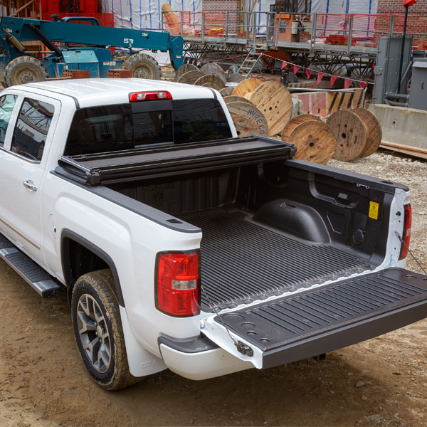 2015 Sierra 2500 Tonneau Cover Hard Folding Black Vinyl