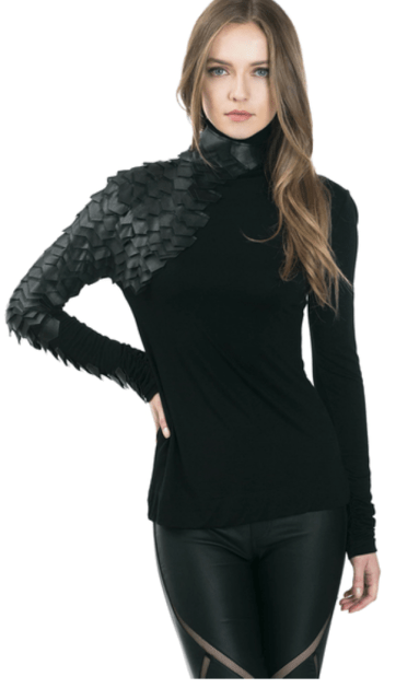 Black Metrix Scale Sleeve Top 3