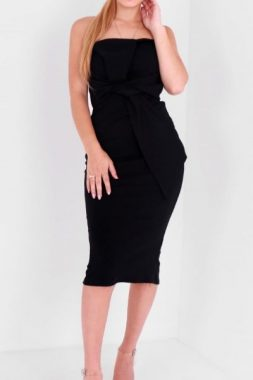 Black Strapless Wrap Dress
