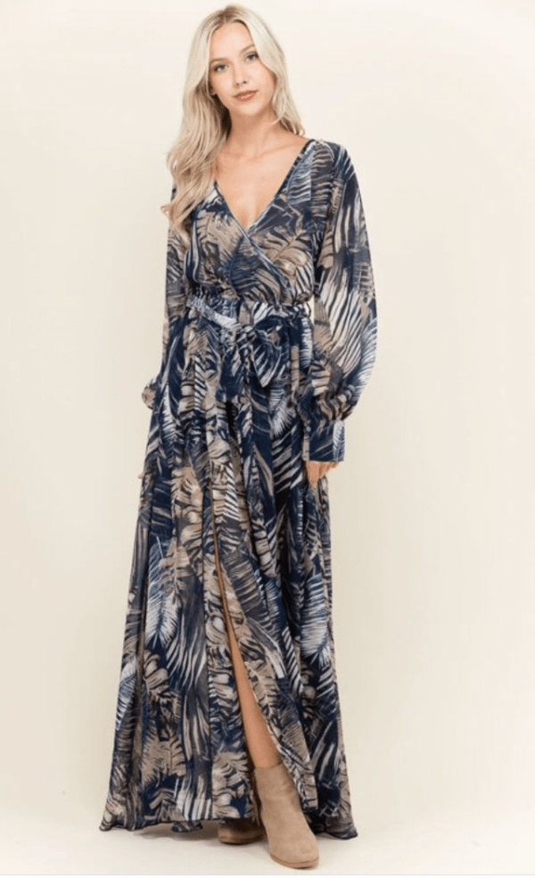 14e447ee3e9 Palm Print Navy Maxi Dress - Shop Claudia Myers Boutique