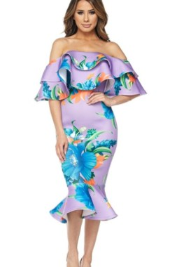Ruffle Off Shoulder Violet Flora