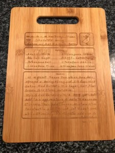 cutting laser engraved bamboo recipe cutting board
