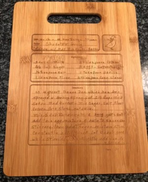 Engraved handwritten recipe cutting board