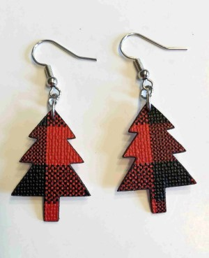 Christmas tree buffalo plaid earrings