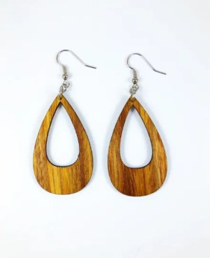 Statement bold wood teardrop earrings