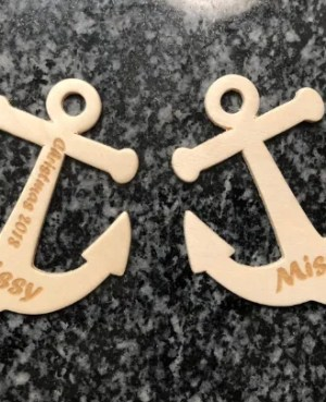 laser engraved wood anchor ornament