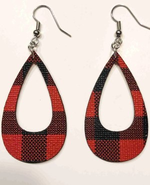 buffalo plaid teardrop earrings with cutout