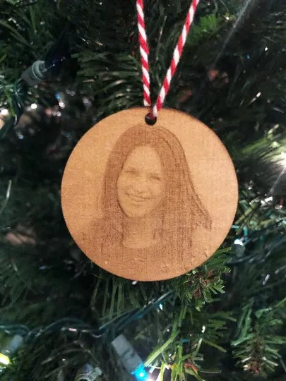 laser engraved photo Christmas ornament