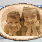 Custom laser engraved picture photo wood slice