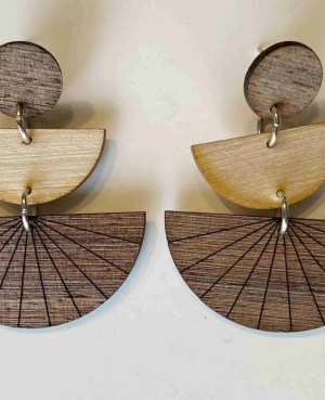 wood laser cut three piece dangle earrings