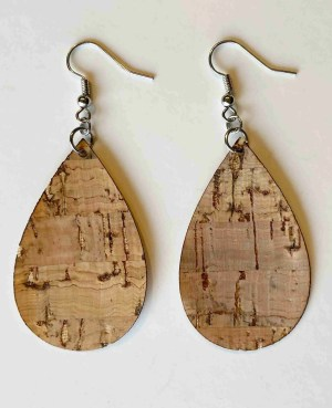 cork laser cut teardrop earrings