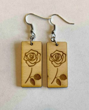 laser engraved rose earrings