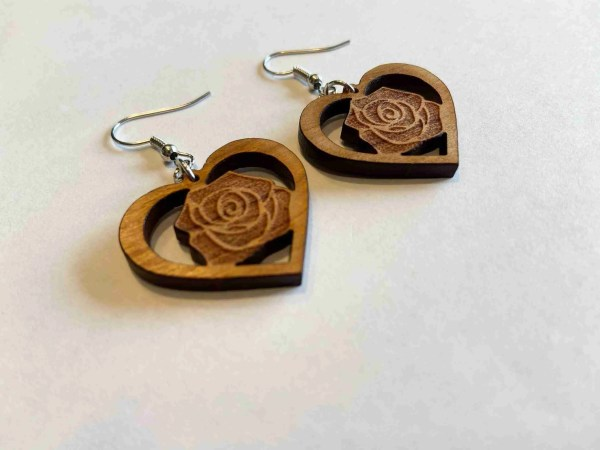 laser engraved rose earrings in a heart