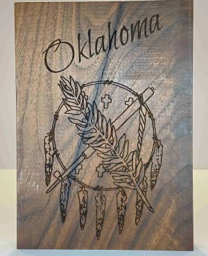 Laser engraved Oklahoma flag with Oklahoma