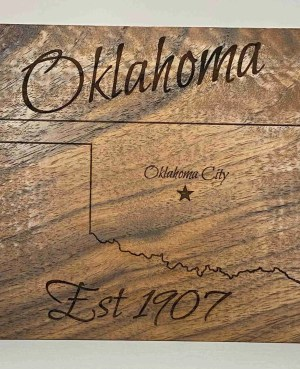 Laser engraved Oklahoma established 1907
