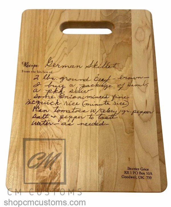 Laser engraved handwriting cutting board