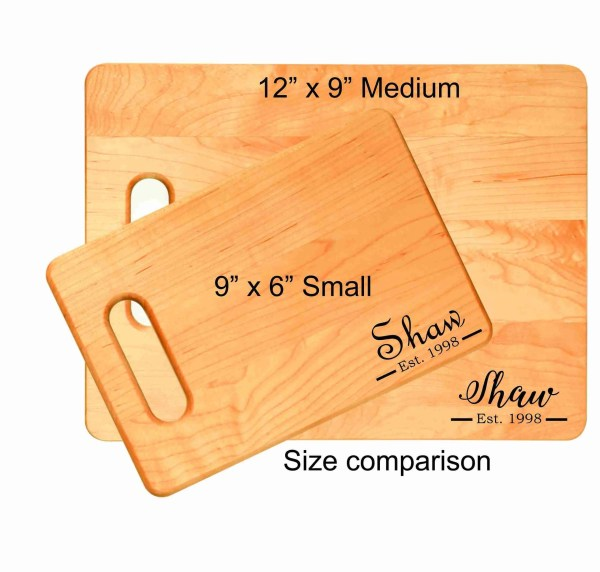 Personalized engraved cutting board est size comparison