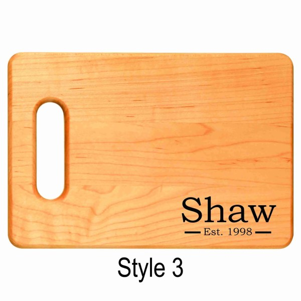 Personalized engraved cutting board established date