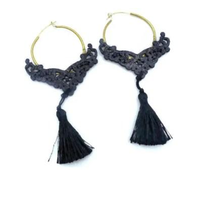 goth tassel earrings