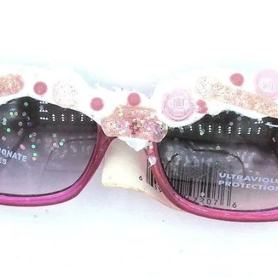 Hot pink transparent sunnies with handmade resin accents