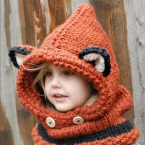 1-7 Years Baby Girls Hats Handmade Kids Winter Hats Wrap Fox Scarf Caps - ShopeeBazar