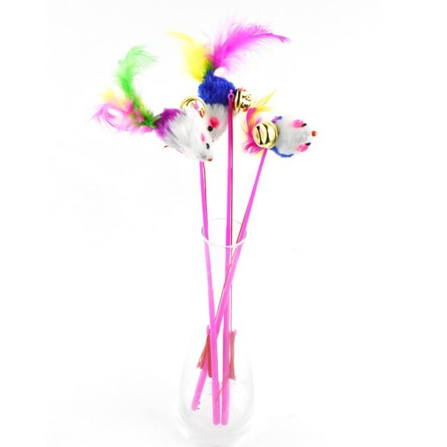 1PC Cat Toys Feather Toys Kitten Funny Colorful Rod Cat Wand