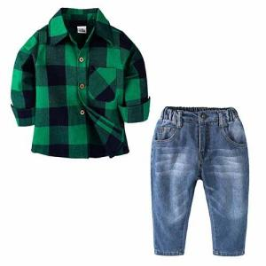 2018 sets of clothes boy's shirt + jeans + Vehicle Printing - ShopeeBazar