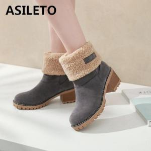 Female Winter Shoes Fur Warm Snow Boots Square heels - ShopeeBazar