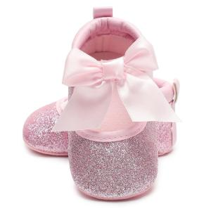 Baby Girl Shoes First Walkers Gold Bling Baby shoes With Big Bow - ShopeeBazar