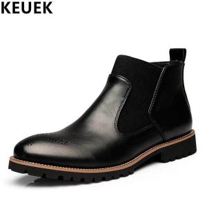 Big Size Autumn Winter Men Martin boots Slip-On Pointed Toe Chelsea Boots Genuine leather - ShopeeBazar