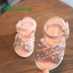 Baby Bling Shoes Pu Leather Infant Beige Rivets Summer Sandals Kid Girls Black Princess Party Dress Shose - ShopeeBazar