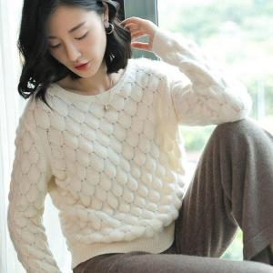 100% Cashmere Sweater Women Uneven Knitted Design O Neck Long Sleeves 2 Colors Ladies Casual Pullovers Knitwear 2018 New Fashion