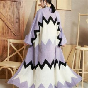 100%hand made wool thick knit women fashion contrast color patchwork Vneck loose long cardigan sweater one&over size