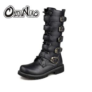 Army Boots Men High Military Combat Boots Metal Buckle Punk Mid Calf Male Motorcycle Boots Lace Up Men's Shoes Rock - ShopeeBazar