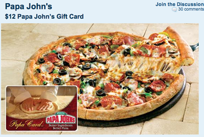 Daily Deal of the Day: Get a $12 Papa John's Gift Card for $6 ...