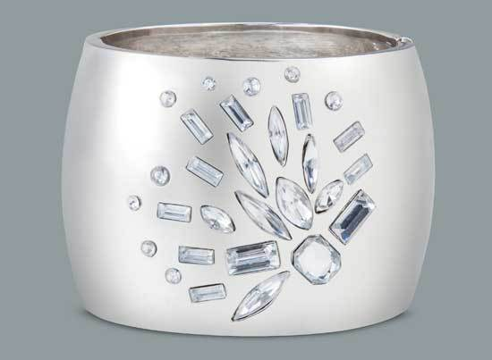 Prabal Gurung for Target Large crystal stone bangle in silver, $24.99 each