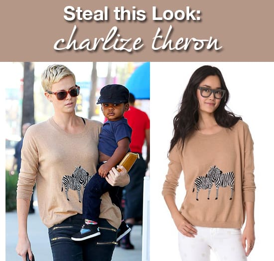 Steal this Look Charlize Theron Zebra Sweater