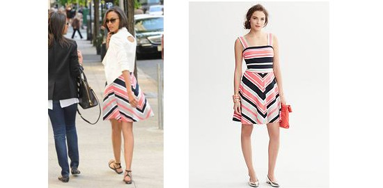 Zoe Saldana wears Banana Republic Milly Collection