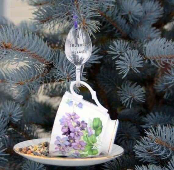 Teacup Bird Feeder from A & K Designs