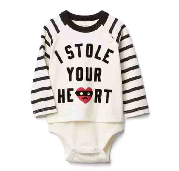 Stole Your Heart Onesie from Baby Gap