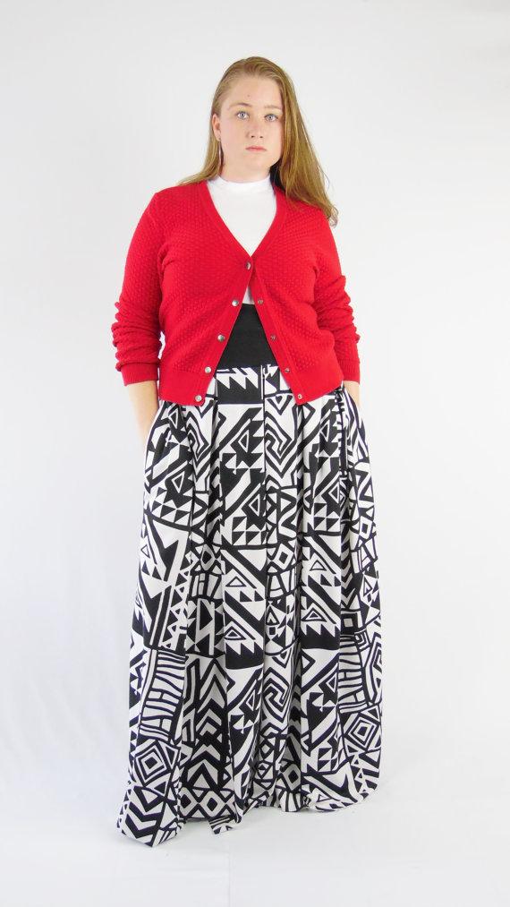 Plus Size Pleated Floor Length Maxi Skirt