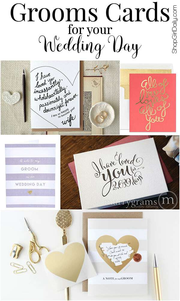 Send your husband-to-be a sweet message before your big walk down the aisle. Any of these grooms cards from Etsy would be perfect!