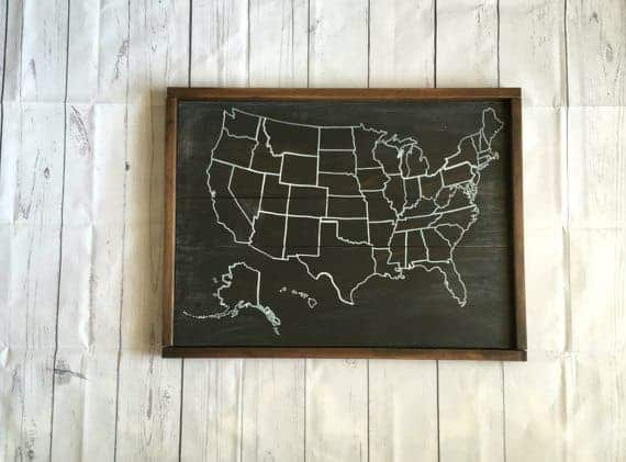 Chalkboard Travel Map