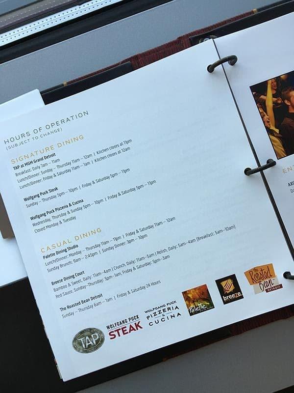 Room service menu at MGM Grand Detroit